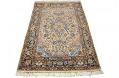 Isfahan - tradycyjne kwiatowe dzieło sztuki z IRANU 100% wełna beżowy oryginalny cenny 112x165cm