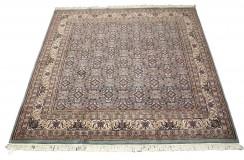 Niebieski piękny dywan Tabriz z Indii ok 200x200cm 100% wełna oryginalny ręcznie tkany perski kwadratowy