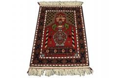 Modlitewnik z Afganistanu 100% jedwab etniczny orientalny dywan ręcznie wykonany 50x70cm XX wiek cenny