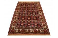 Luksusowy kobierzec z Afganistanu 100% jedwab etniczny orientalny dywan ręcznie wykonany 118x195cm XX wiek cenny Turkmen