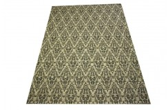 Płasko tkany dywan Pixel 160x230 krem czarny niepowtarzalny z Indii poliester bawełna vitage