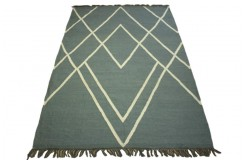 100% wełniany płasko tkany dywan kilim 160x230 szary ręcznie tkany z Indii