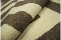 100% wełniany gęsty gruby dywan kilim 160x230 brązowo beżowy ręcznie tkany z Indii