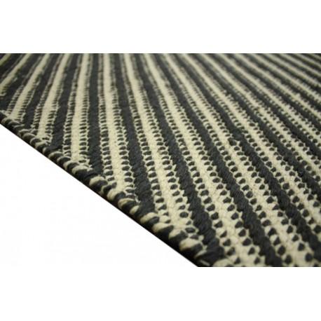 100% wełniany pięknie przeplatany dywan 160x230 kremowo czarny deseń z Indii