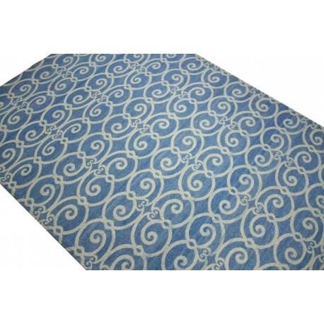 Płasko tkany dywan Vintage 160x230 niebieski niepowtarzalny z Indii poliester bawełna