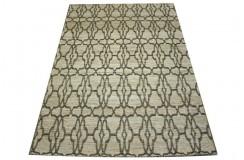 Płasko tkany dywan nowoczesny 160x230 beżowy niepowtarzalny z Indii poliester bawełna