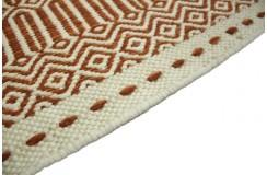 Wełniany gęsty gruby dywan kilim dwustronny 160x230 terakota biały ręcznie tkany z Indii