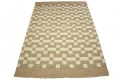 Niezwykły dywan płasko ręcznie tkany z wełny owczej w jasnej tonacji 160x230