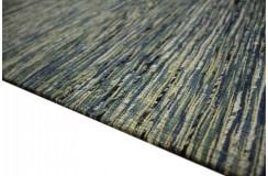 Płasko tkany dywan nowoczesny 160x230 niebieski cieniowany z Indii poliester bawełna
