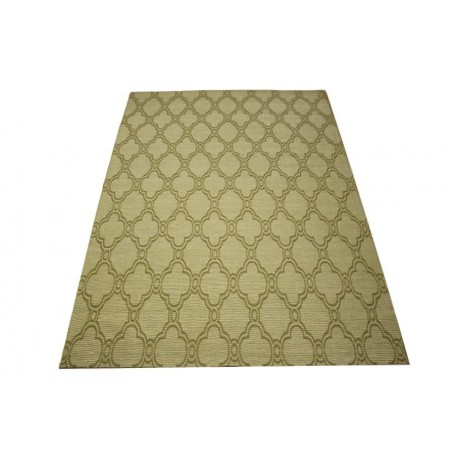 Płasko tkany dywan Vintage 160x230 beżowy niepowtarzalny z Indii poliester bawełna