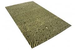 100% wełniany beżowo-brązowy designerski dywan nowoczesny z Indii gruby 160x230cm