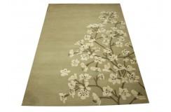 Kwiatowy jasny śliczny dywan nowoczesny wełna i wiskoza 160x230cm gruby