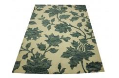 100% wełniany piękny nowoczesny dywan gruby w designerskie kwiaty beż niebiesko-zielony wzór 160x230cm