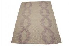100% wełniany płasko tkany dywan kilim 160x230 fioletowo beżowy z wzorami 3d z Indii