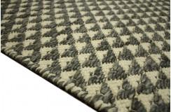 Piękny ręcznie wykonany płasko tkany kilim dywan wełniany z Indii 160x230cm beż szary dwustronny