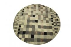 Piękny ręcznie wykonany dywan okrągły 150x150cm szaro-beżowy gruby masywny nowoczesny Indie