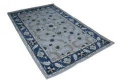 Szary gruby dywan wełniany ręcznie tkany z Indii Persian Ziegler kwiatowy tradycyjny 155x245cm