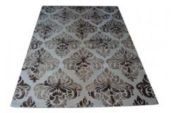 100% wełniany piękny nowoczesny dywan gruby w wzory vintage cieniowane beż brąz 160x240cm