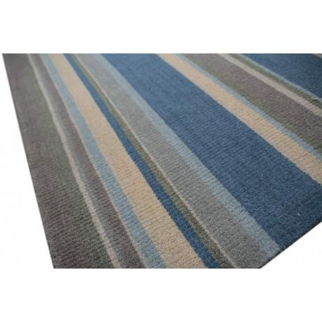 Super Wełna 100% dywan 160x230 ręcznie tkany w pasy INDIE niebieski MT76