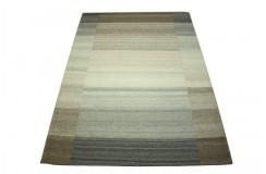 Płasko tkany dywan nowoczesny 160x230 szary niepowtarzalny z Indii poliester bawełna