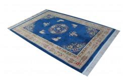 Dywan aubusson ręcznie tkany z Chin ok 200x300cm 100% wełna oryginalny kwiatowy tradycyjny niebieski