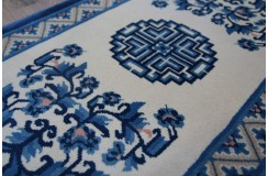 Dywan aubusson ręcznie tkany z Chin ok 70x140cm 100% wełna oryginalny kwiatowy tradycyjny niebiesko-beżowy