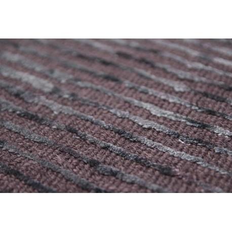 Brązowy postarzany dywan Vintage tafting 160x240cm wiskoza wełna Indie ręcznie tkany w pasy