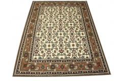 Beżowy piękny dywan Herati z Indii ok 170x240cm 100% wełna oryginalny ręcznie tkany perski gruby