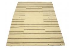 Beżowy elegancki dywan Gabbeh Loribaft Loom Indie 150x200cm gruby gęsty i miękki