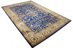 Perski ceny dywan Saruk ręczne tkany 200x300cm 100% wełna kwatowy gustowny niebieski