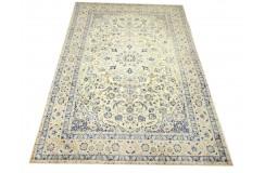 Gęsto ręcznie tkany dywan Nain 9la Habibian z Iranu wełna + jedwab 200x310cm beżowy