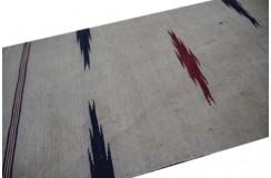 Wełniany ręcznie tkany chodnik afgański beżowy z wzorami dwustronny kilim 60x270cm na ścianę