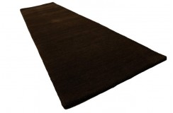 Gładki 100% wełniany dywan Gabbeh Handloom ciemny brązowy 70x300cm bez wzorów