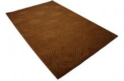 100% wełna brązowy designerski nowoczesny dywan w szlaczki 3D 160x230cm