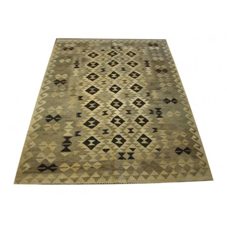 Stonowany szary dywan kilim 148x196 z Afganistanu Chobi 100% wełna vintage design nomadyczny