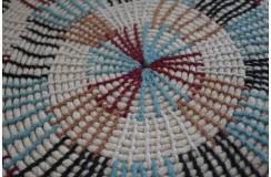 Ręcznie wykonany dywan okrągły rzędy wełny czesankowej gruby beżowy kolorowy 200x200m Indie