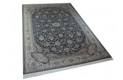 Piękny misternie tkany lśniący perski dywan Ghom czarny 160x230cm 100% poliester
