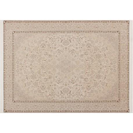Piękny misternie tkany lśniący perski dywan Ghom beżowy 160x230cm 100% poliester