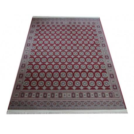 Piękny misternie tkany lśniący perski dywan Ghom czerwony 160x230cm 100% poliester vintage