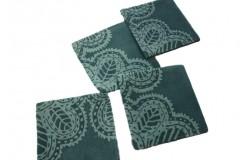 Rewelacyjne dywaniki modułowe wełniane 45x45 Indie niebiesko-zielone