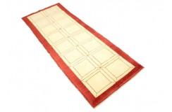 Ręczny tkany dywan Ziegler Gabbeh nowoczesny piękne kolory beż 68x185cm