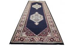 Granatowy elegancki dywan z medalonami herati ok 80x250cm 100% wełna Indie Bidjar