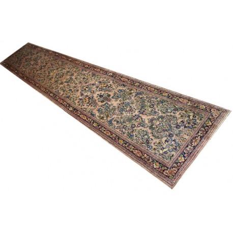 Gęsto tkany kwiatowy piękny dywan Saruk z Iranu 75x425cm 100% wełna oryginalny perski chodnik