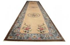 Kwiatowy jedwabny dywan Aubusson z Chin ręcznie tkany uniat cenny 70x350cm chodnik