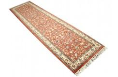 Ceglasto-czerwony piękny dywan z kwiatami ok 80x300cm 100% wełna Indo-Saruk