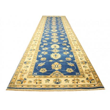 Niebieski tradycyjny ręcznie tkany dywan Ziegler Farahan z Pakistanu 100% wełna 80x315cm chodnik