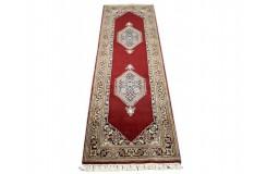 Czerwony gustowny dywan z medalonami herati ok 80x250cm 100% wełna Indie Bidjar