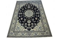 Nain ręcznie tkany dywan z Iranu wełna 160x240cm granatowy majestatyczny klasyczny