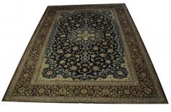 Piękny oryginalny dywan Kashan (Keszan) z Iranu z medalionem wełna 300x400cm perski granatowy