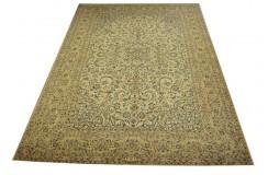 Piękny oryginalny dywan Kashan (Keszan) z Iranu kwiatowy wełna 300x400cm perski beżowy sygnowany